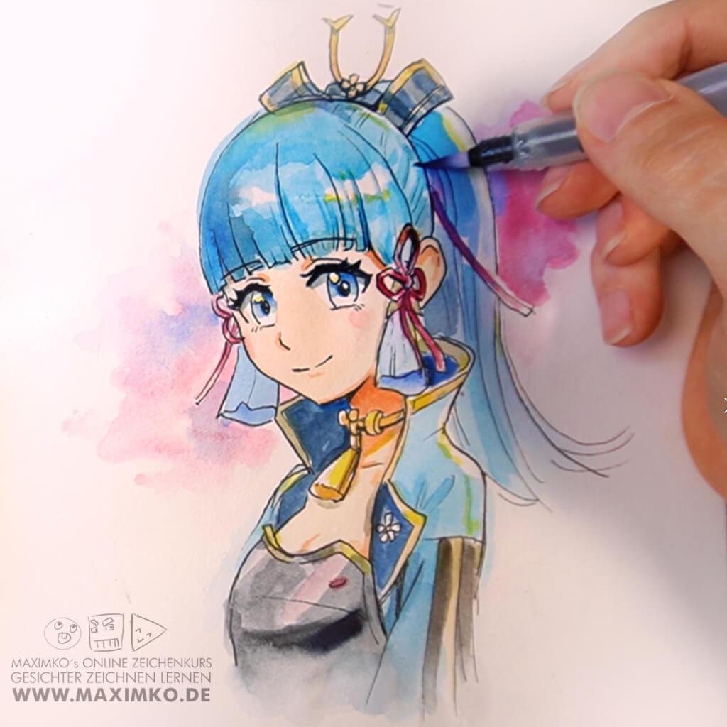 anime zeichnen für anfänger ayaka genshin impact tutorial schritt für schritt anleitung maxim simonenko