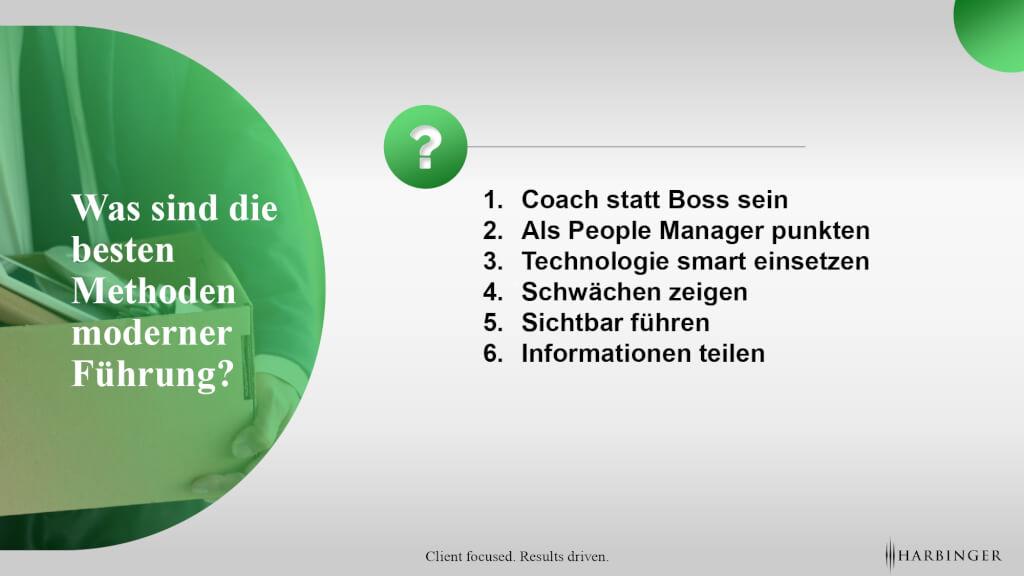 Moderne Fuehrung coach sein people manaer schwaechen zeigen sichtbar fuehren fuerungskraft modern fuehren harbinger ag page 0001 1