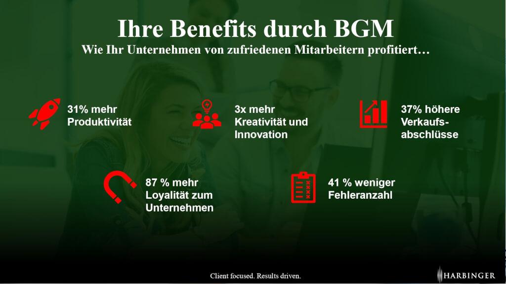 BGM Benefits zufriedene Mitarbeiter Statistiken Studien Zahlen Mitarbeiterzufriedenheit Gesundheitsmanagement Zahlen zu BGM Zahlenbasis