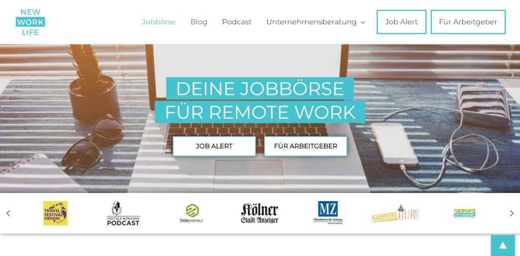 Remote Jobboerse   New Work Life Startseite