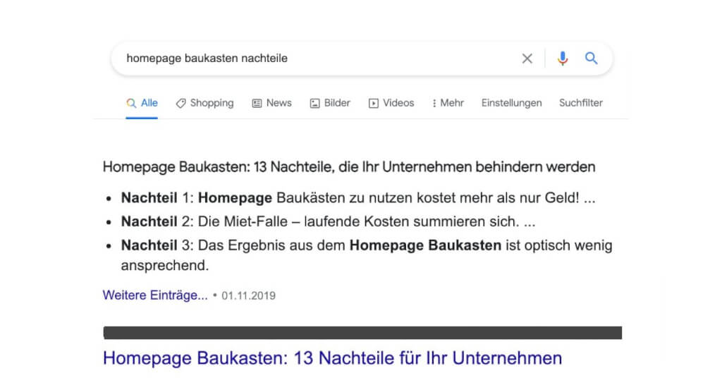 Homepage Baukasten nachteile Google Suche