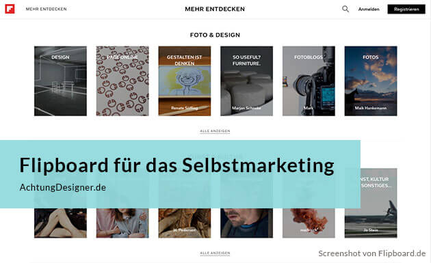 Flipboard Selbstmarketing - Screenshot Flipboard.de