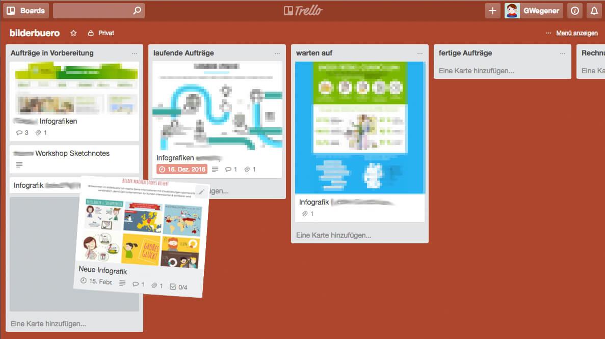 Design-Aufträge organisieren mit Trello - Karten verschieben