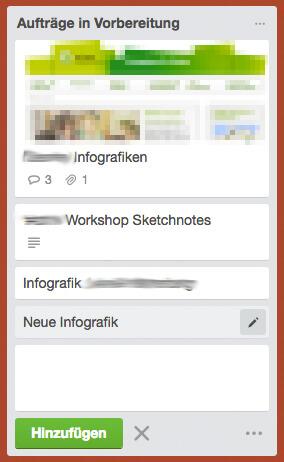 Design-Aufträge mit Trello organisieren / neue Karte anlegen