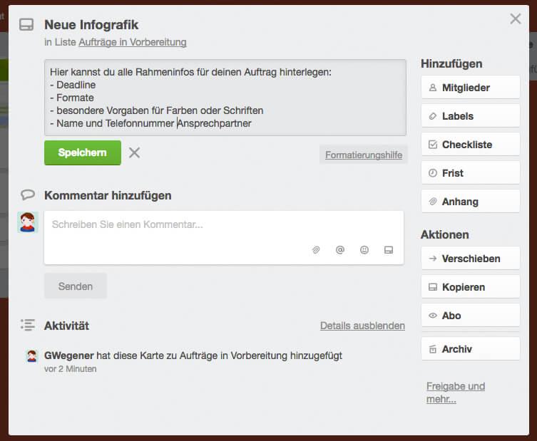 Design-Aufträge organisieren in Trello - Die Beschreibung