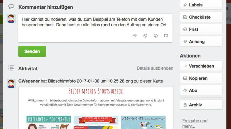 Design-Aufträge organisieren - Kommentare
