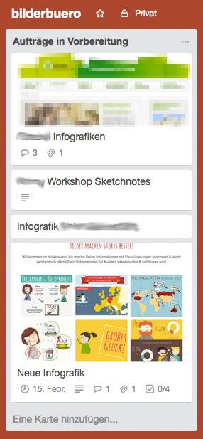 Design-Aufträge organisieren in Trello - die neue Karte