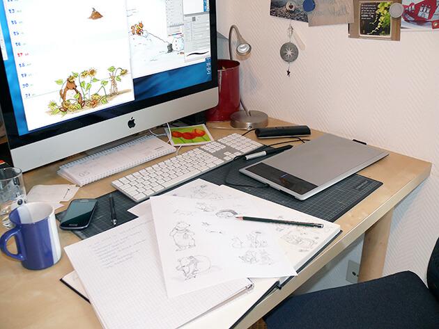 Arbeitsplatz von der Illustratorin Meike Teichmann