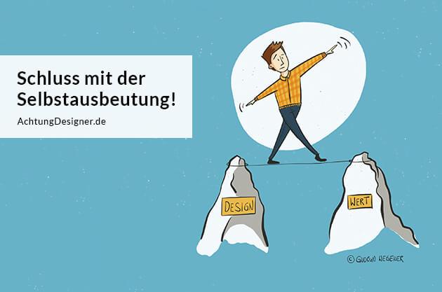 Illustration Schluss mit der Selbstausbeutung / © Gudrun Wegener AchtungDesigner.de