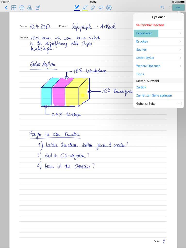 Tools für Designer - Good Notes - Mitschriften exportieren