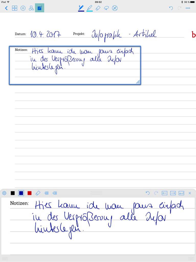Tools für Designer - Good Notes - Notizen vergrößern