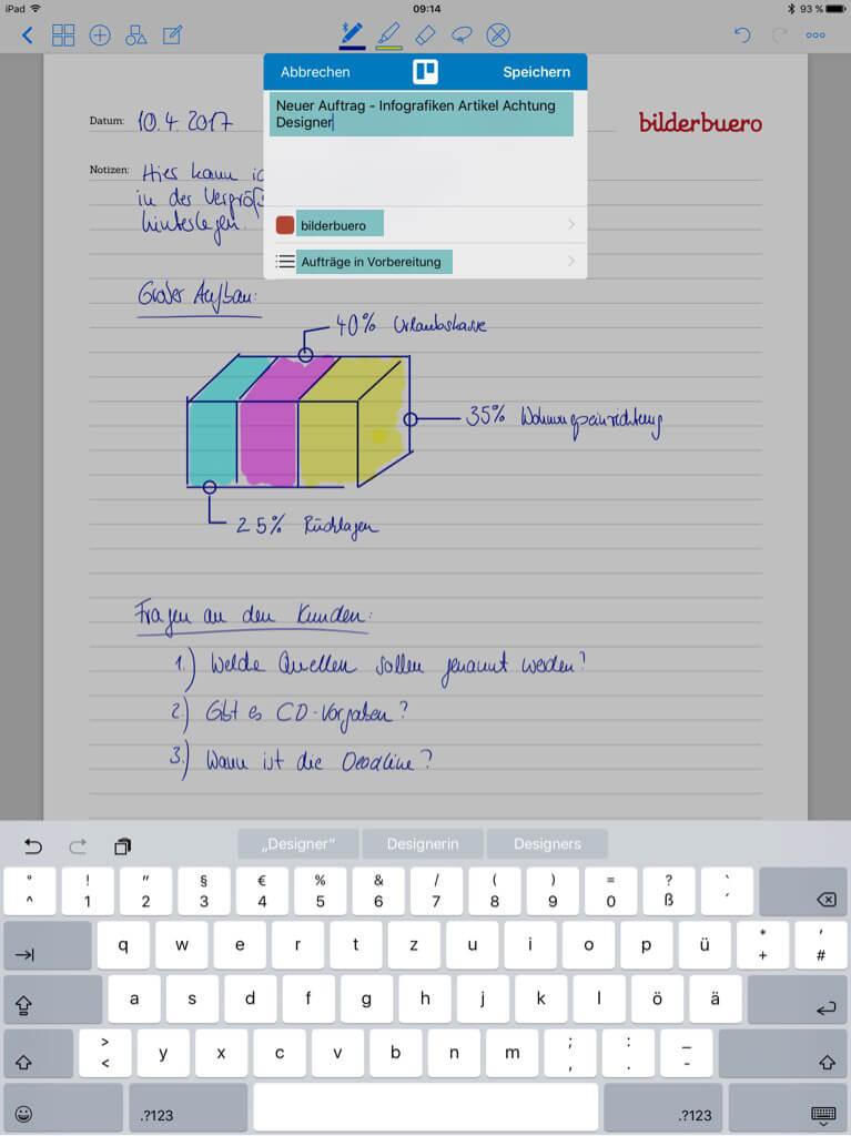 Tools für Designer - Good Notes - Nach Trello exportieren
