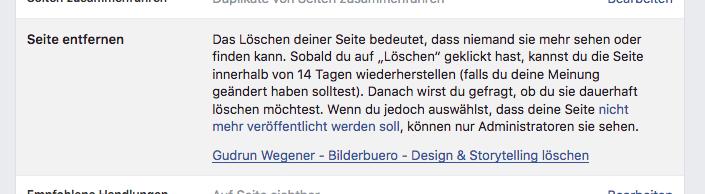 Facebook Fanpage vom bilderbuero löschen