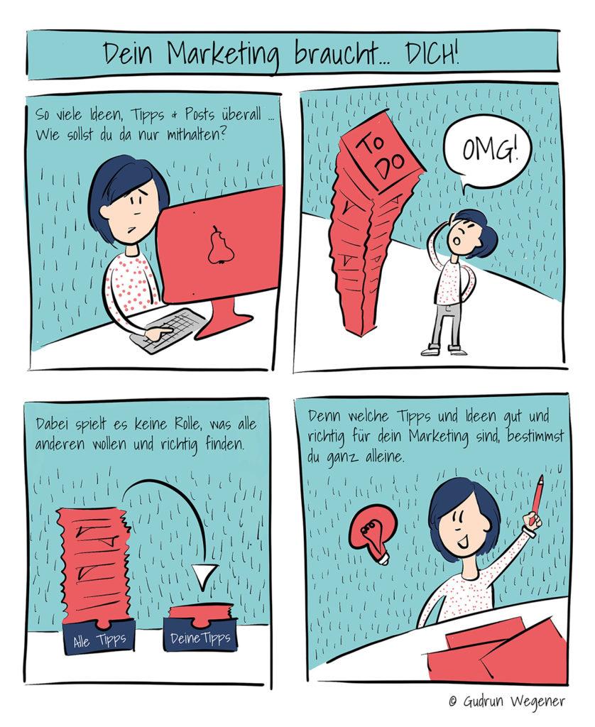 Comic für Designer / Dein Marketing braucht dich © Gudrun Wegener / Achtung Designer