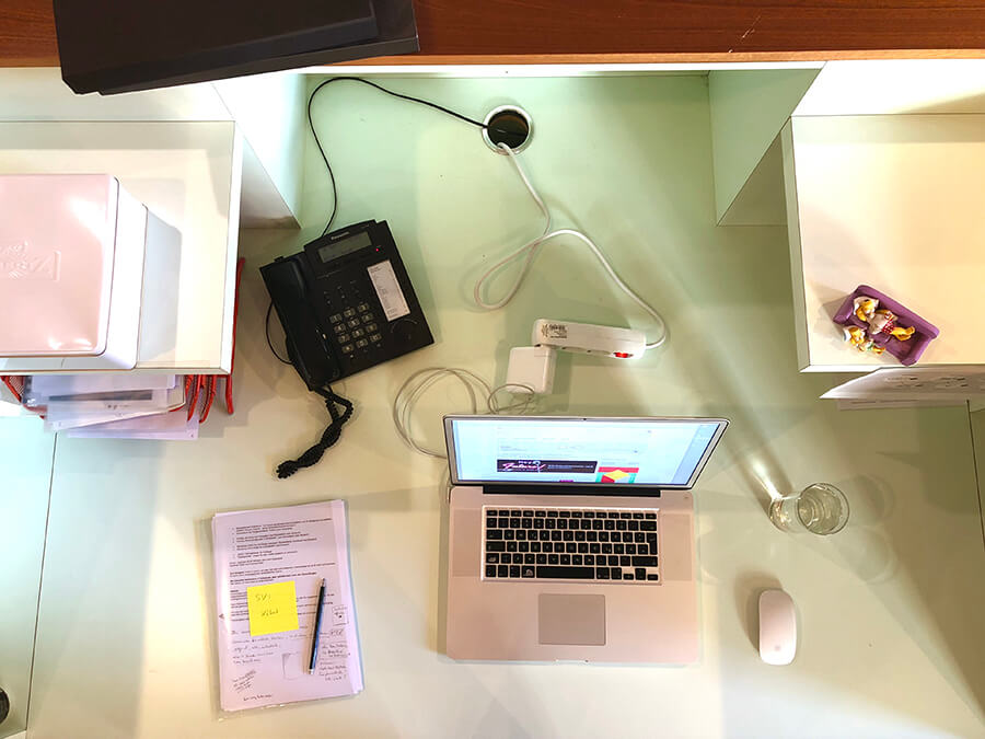 So sieht der Schreibtisch von Designer Rainer Klute aus.