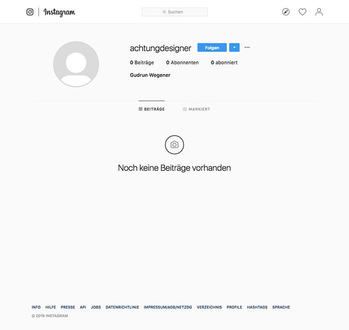 Instagram für Designer, AchtungDesigner, Schritt 1 –Einen Account anlegen