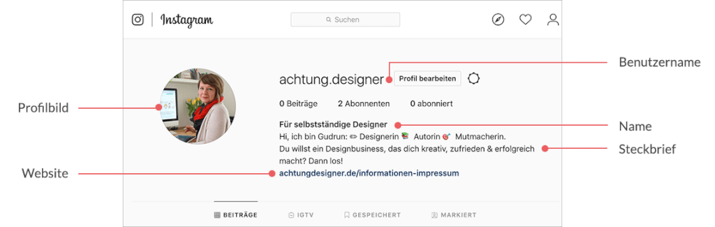 Instagram für Designer, Achtung Designer, Schritt 3 - Dein fertiges Profil auf Instagram