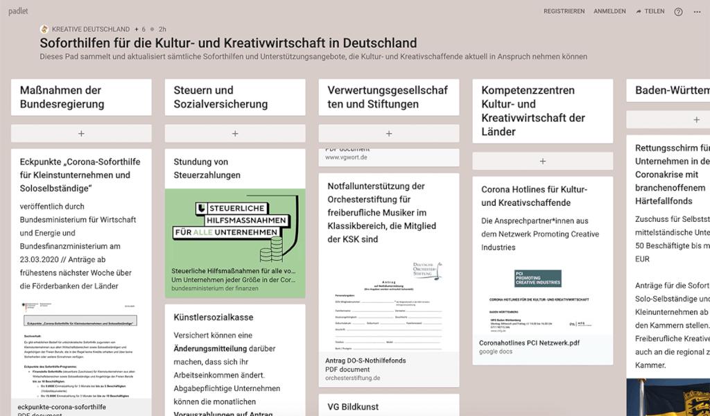 kreative deutschland screenshot soforthilfe corona designer