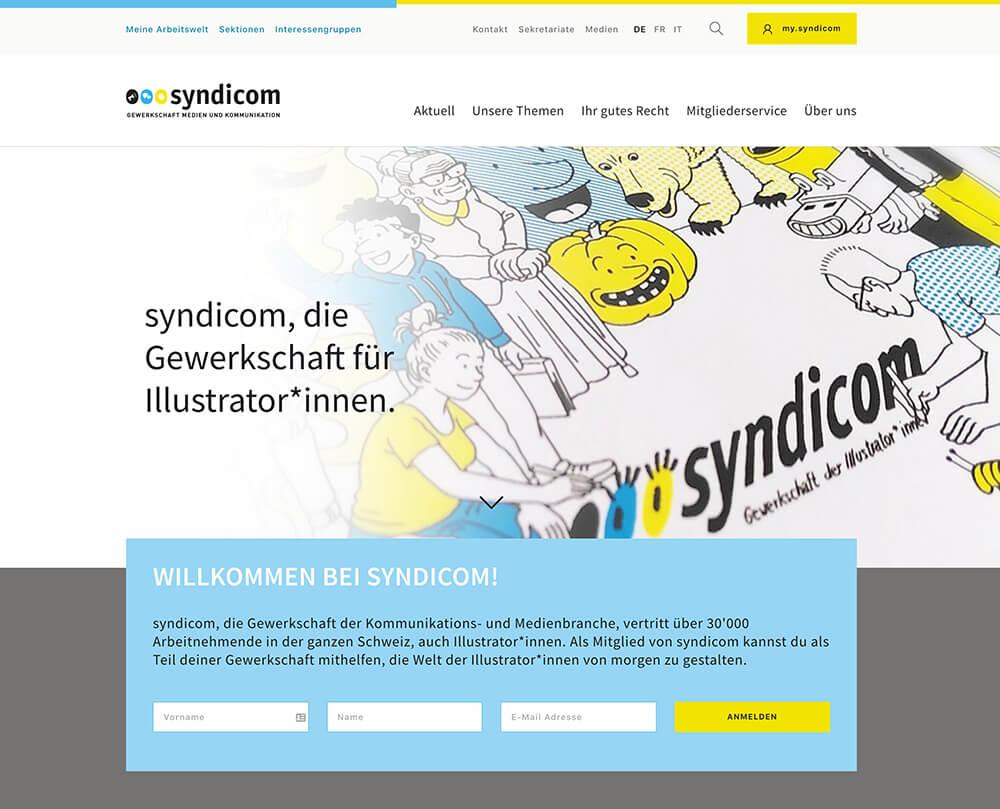 Screenshot syndicom Gewerkschaft