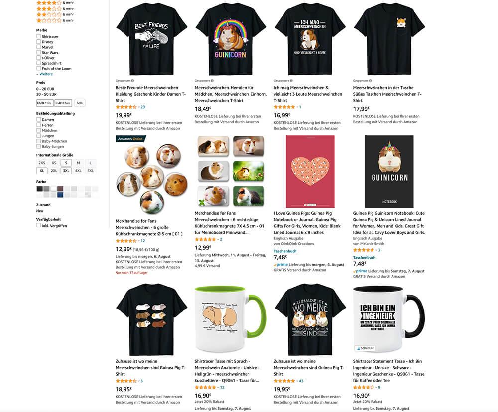 eigene Designprodukte Marktanalyse Amazon