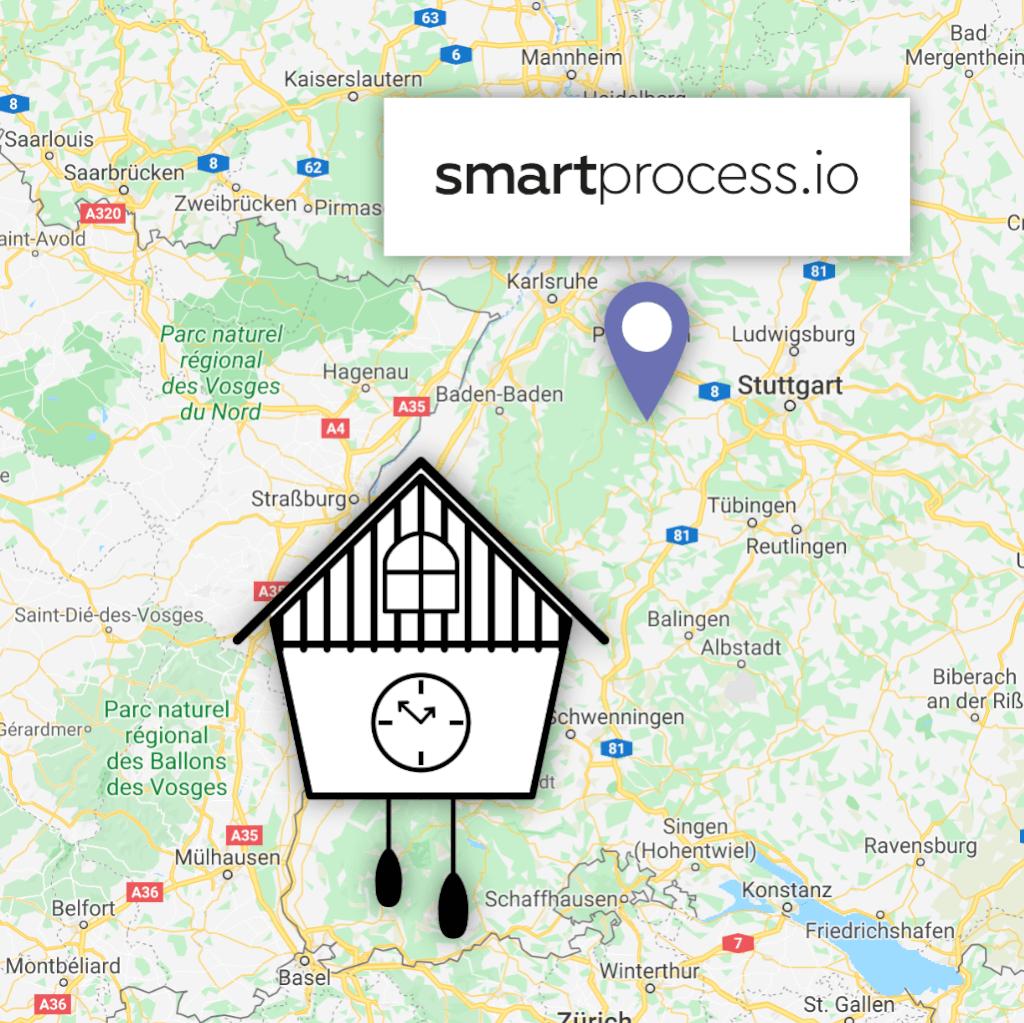 Karte mit Standort von smartprocess.io im Norden des Schwarzwalds