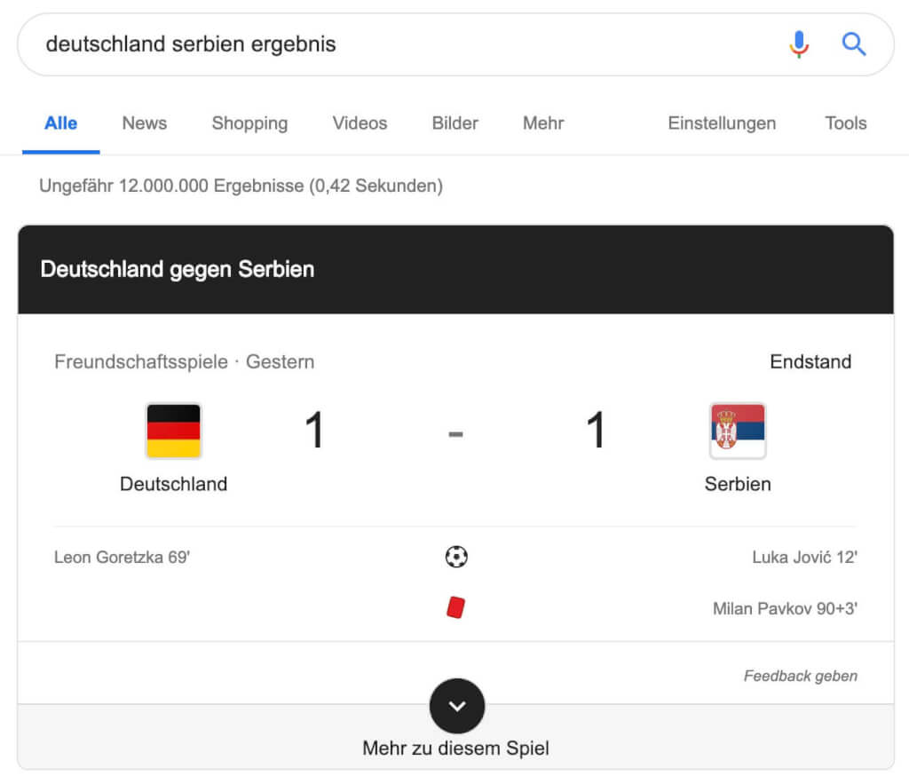 Featured Snippet Fussball Google Jobs