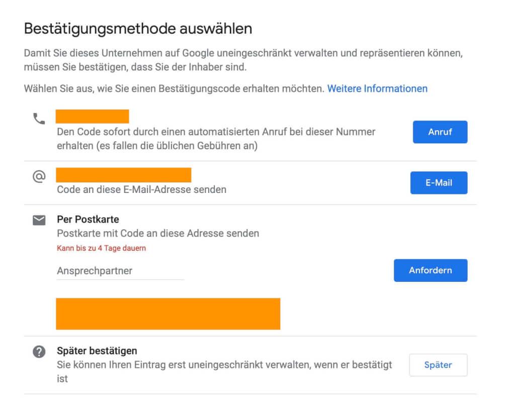 Google My Business Bestaetigungsmethoden
