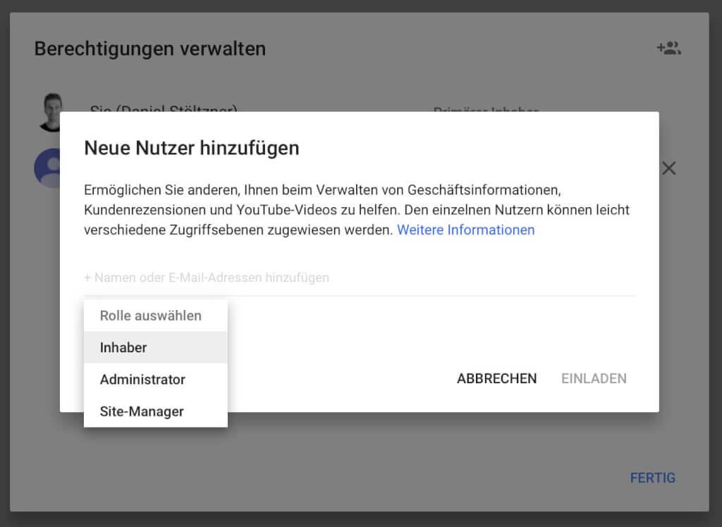 Google My Business Nutzer hinzufuegen
