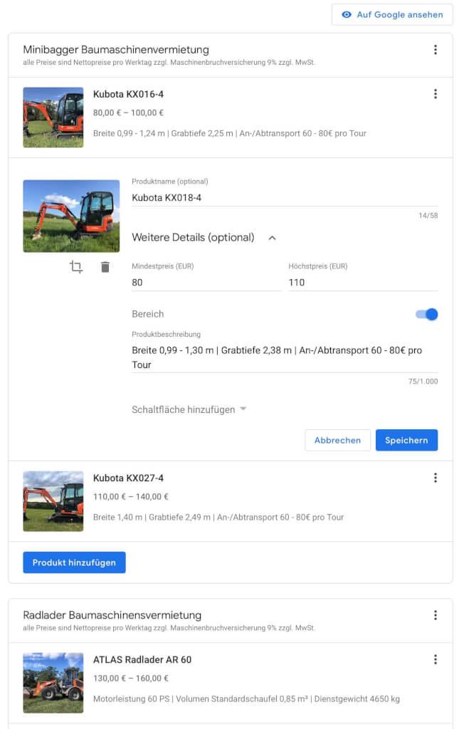 Google My Business Produkte hinzufuegen 2