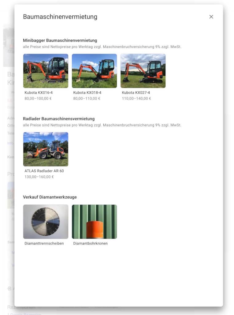 Google My Business Produktuebersicht