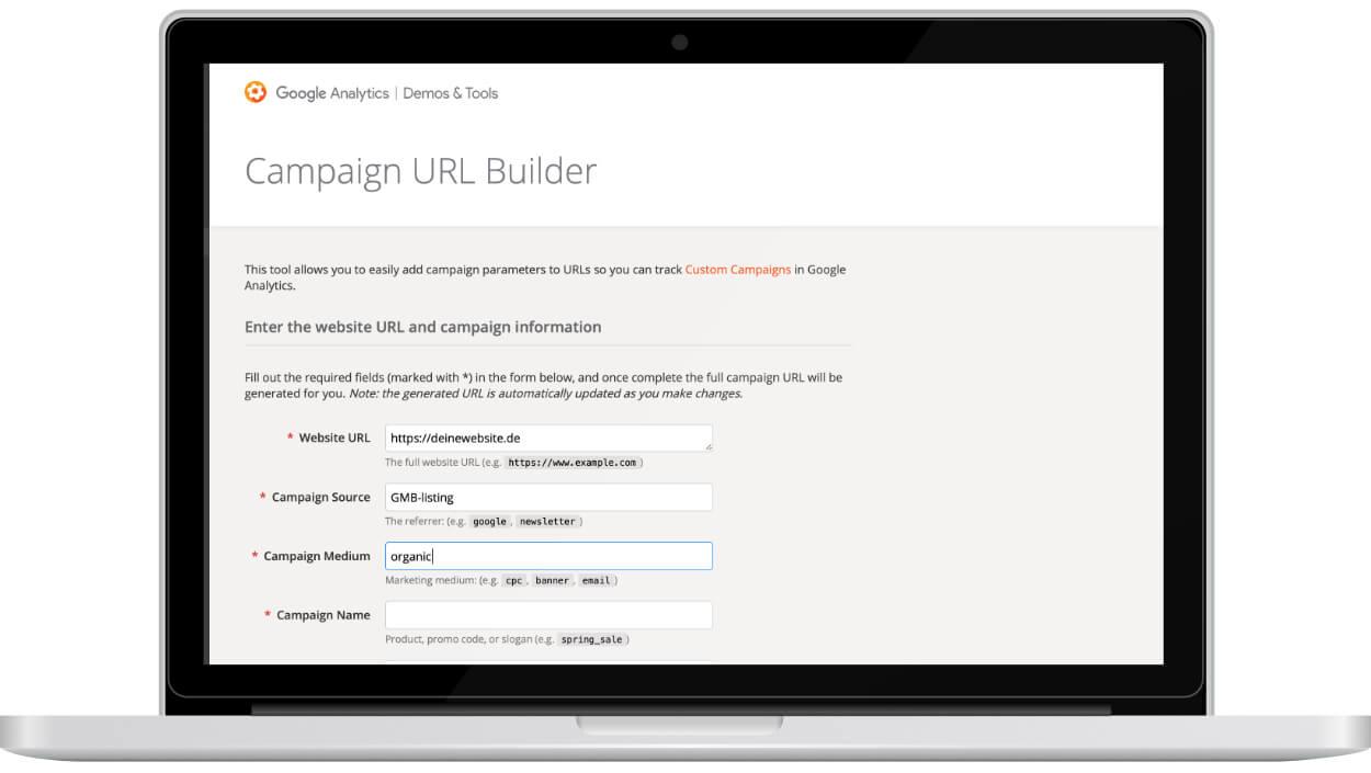 Die Benutzeroberfläche des Google Campaign URL Builder