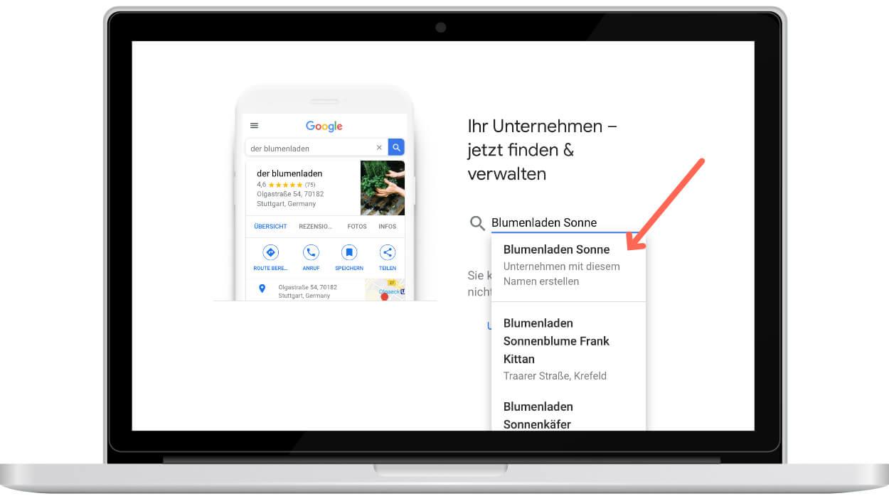 Google My Business am Beispiel eines Blumenladens einrichten