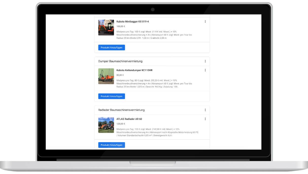 google my business produkte einpflegen