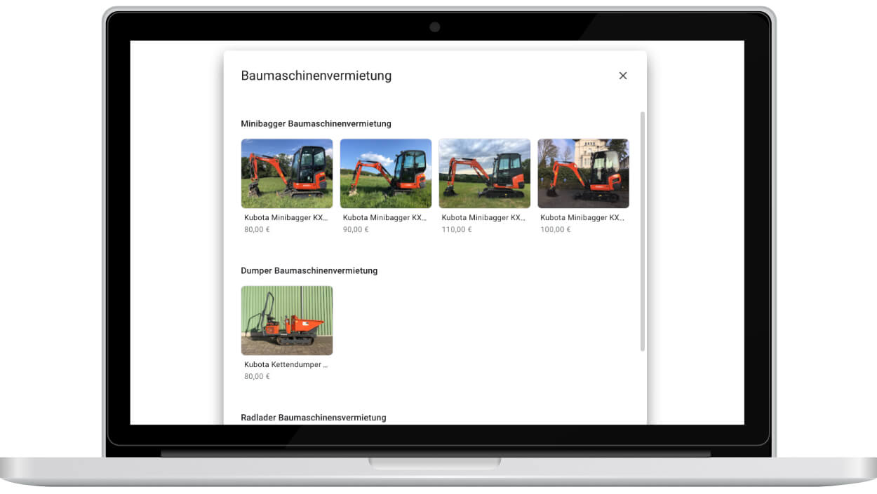 google my business produktuebersicht