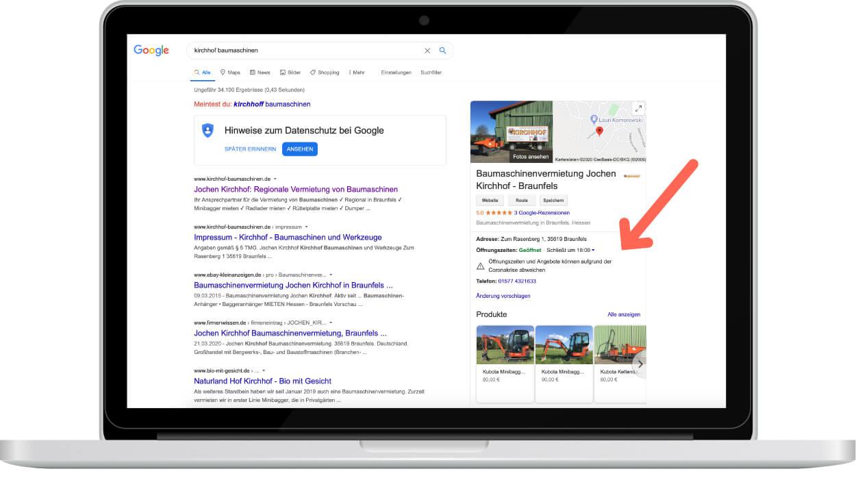 Ein Google My Business Eintrag, der auf einem Laptop dargestellt wird