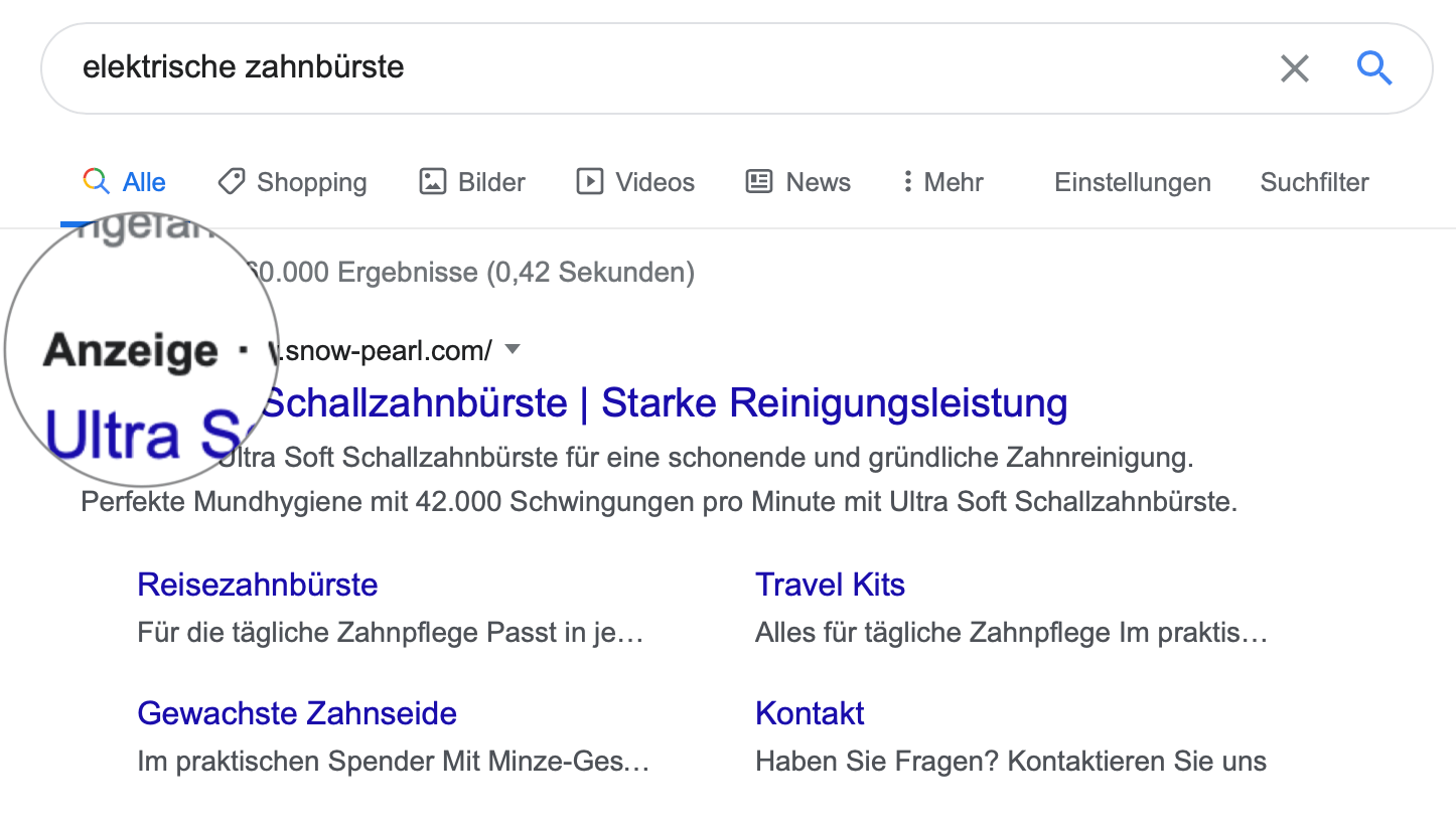 sea suchmaschinenwerbung zahnbuerste anzeige