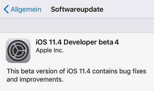 Screenshot iOS Update 11.4 Developer beta 4