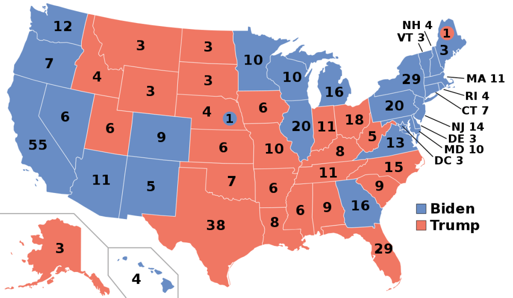 A map of the United States with states filled in with either red or blue