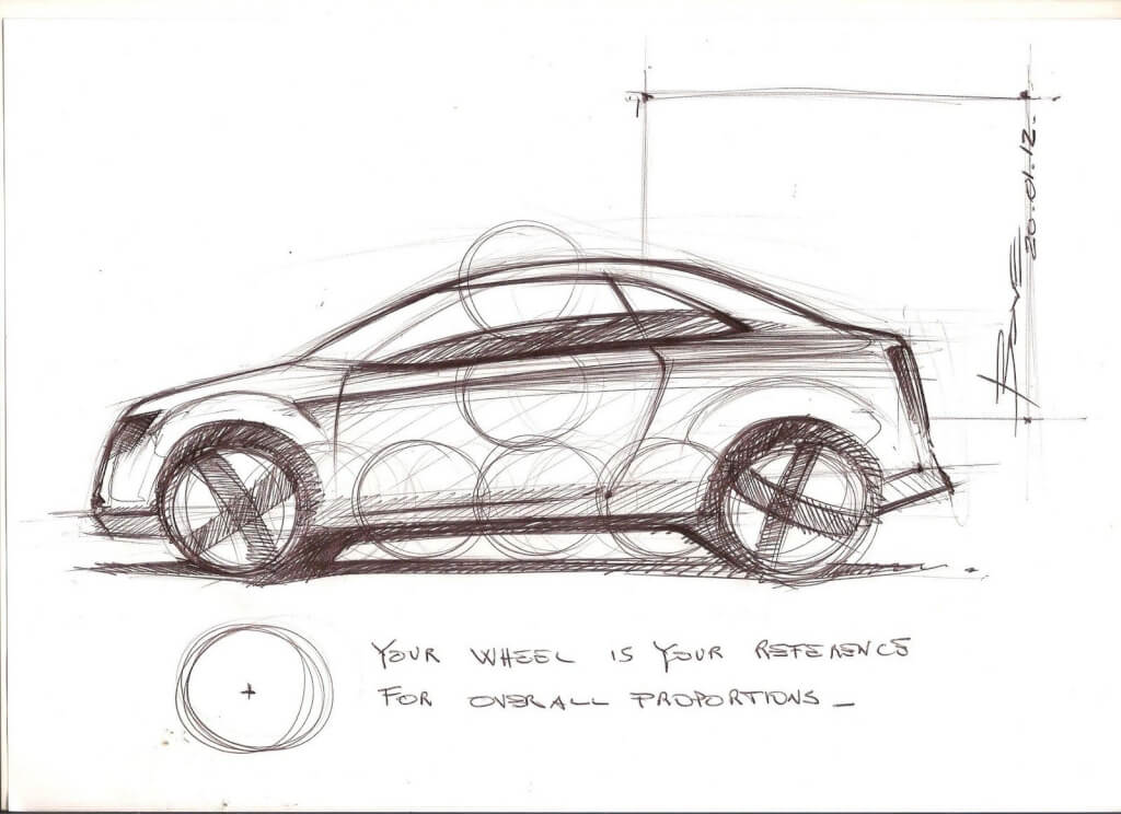 A rough technical drawing of a car