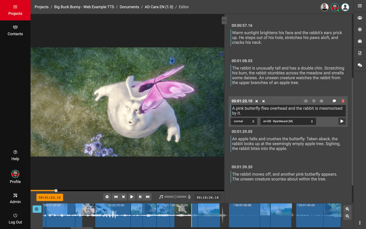 screenshot of the VIDEO TO VOICE app interface with video player, waveform, and descriptions