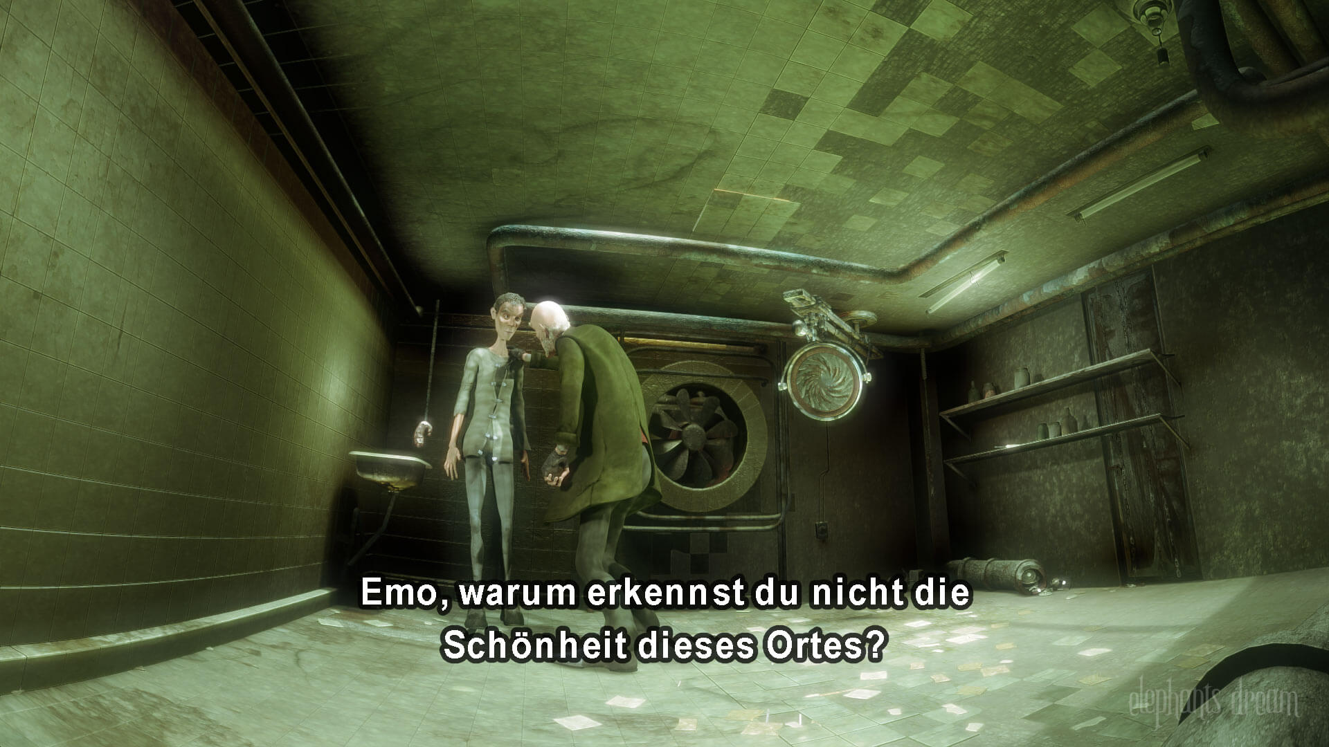 An image from the film Elephants dream with German subtitles at the bottom of the screen