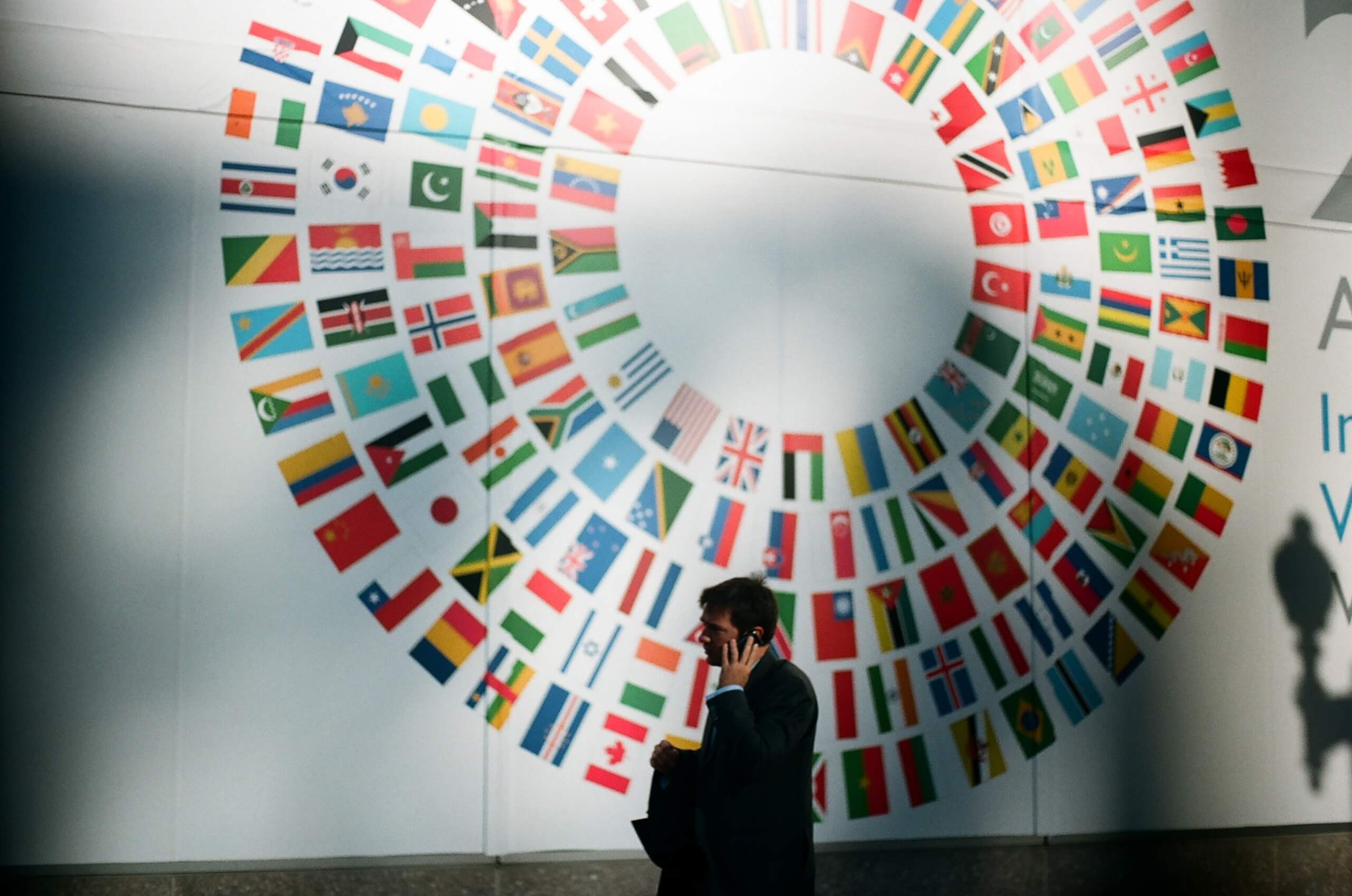 in the foreground a man is on his phone. In the background the world s flags appear in a circle on a wall outside the world bank