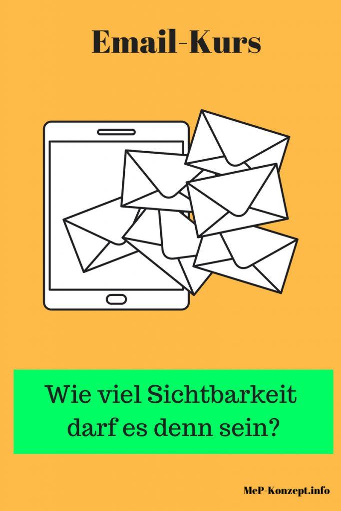 Email-Kurs Wie viel Sichtbarkeit darf es denn sein, MeP-Konzept mit Symbolillustration für Tablet, Smartphone und mehrere Briefumschläge