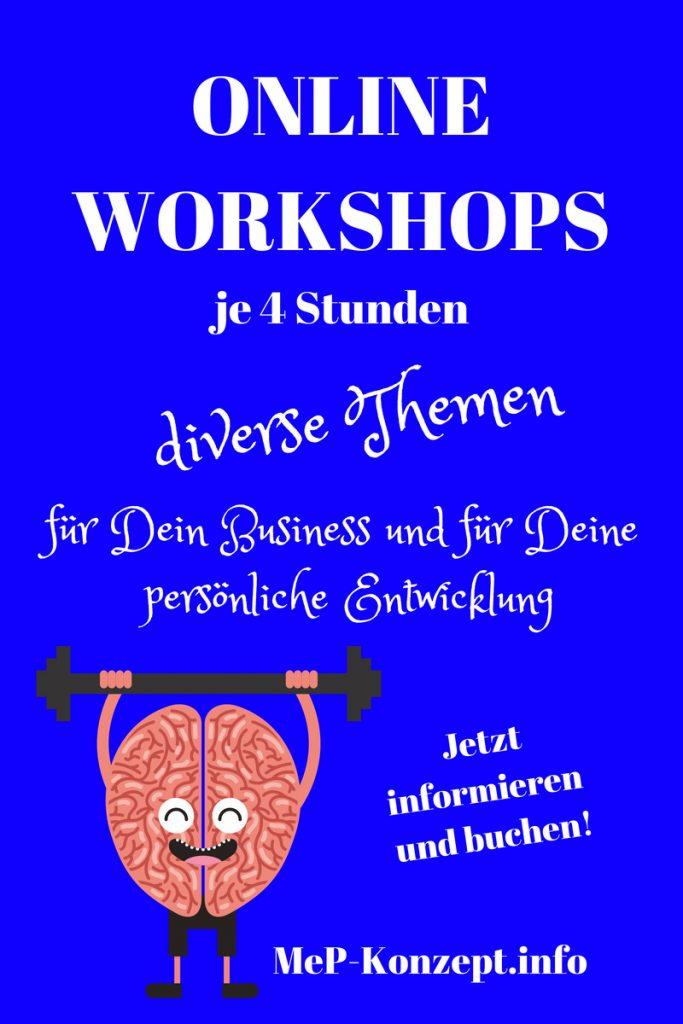 Online Workshops, 4 Stunden Workshop, Pinterestpin mit witziger Hirn-macht-Kraftsport-Grafik, MeP-Konzept.info
