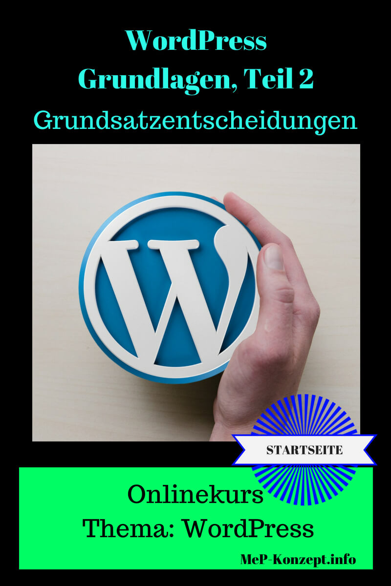 Startseite Onlinekurs Basis WordPress 2