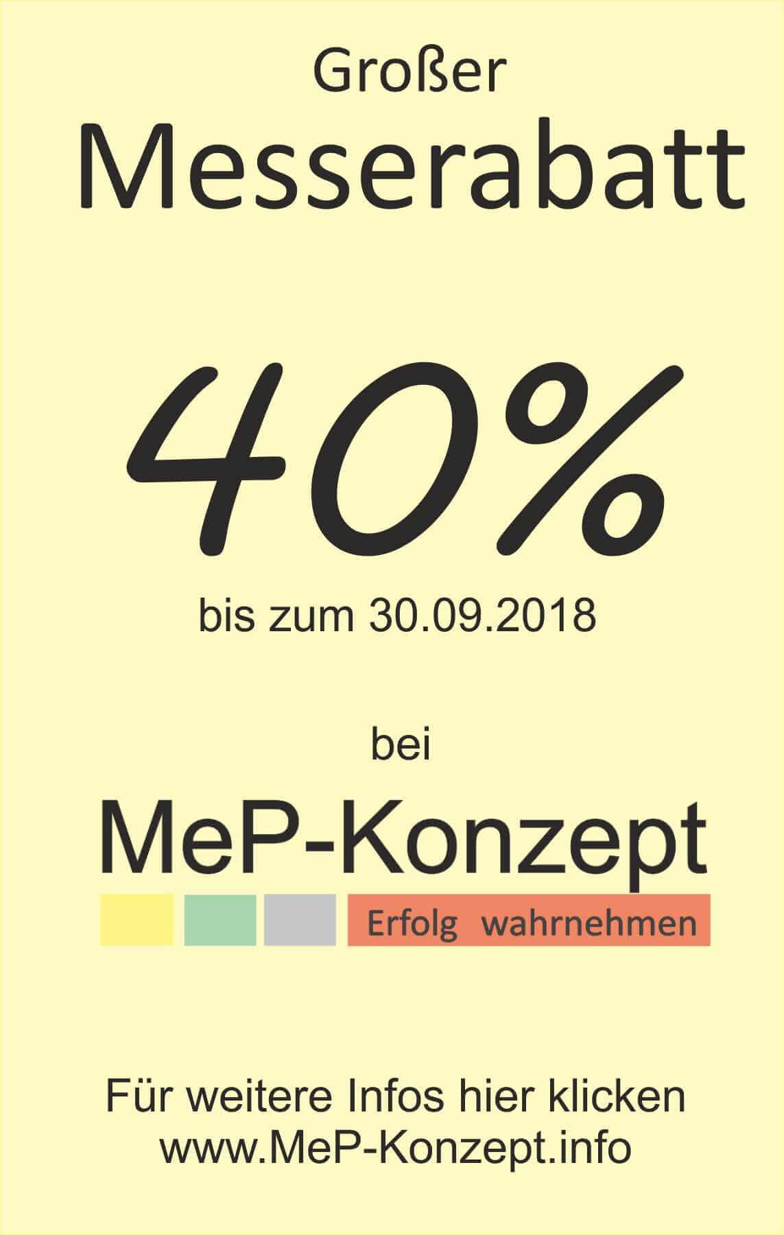 40% Messerabatt bis 30.09.2018 bei MeP-Konzept
