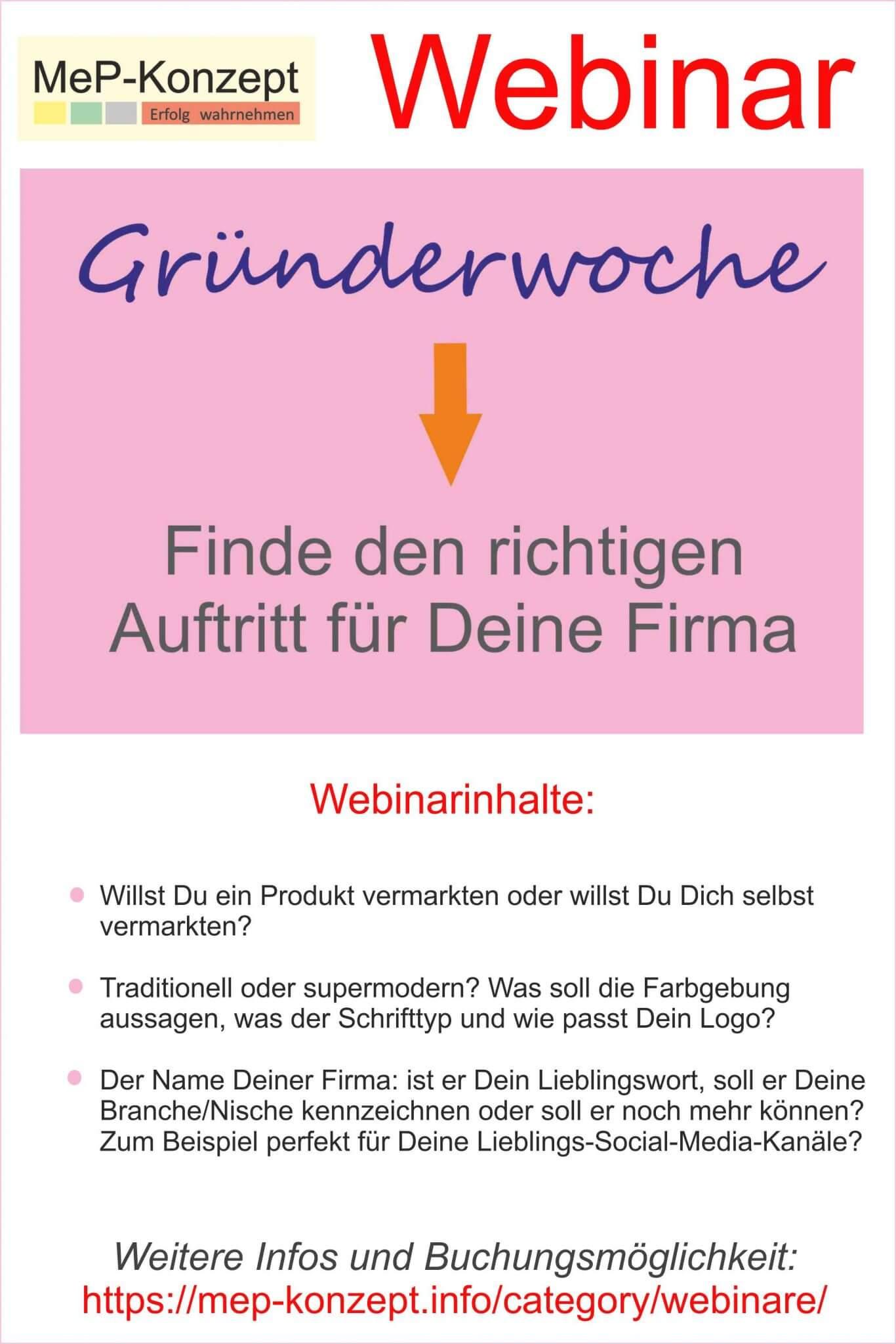 Gründerwoche-Webinar: Finde den richtigen Auftritt für Deine Firma!