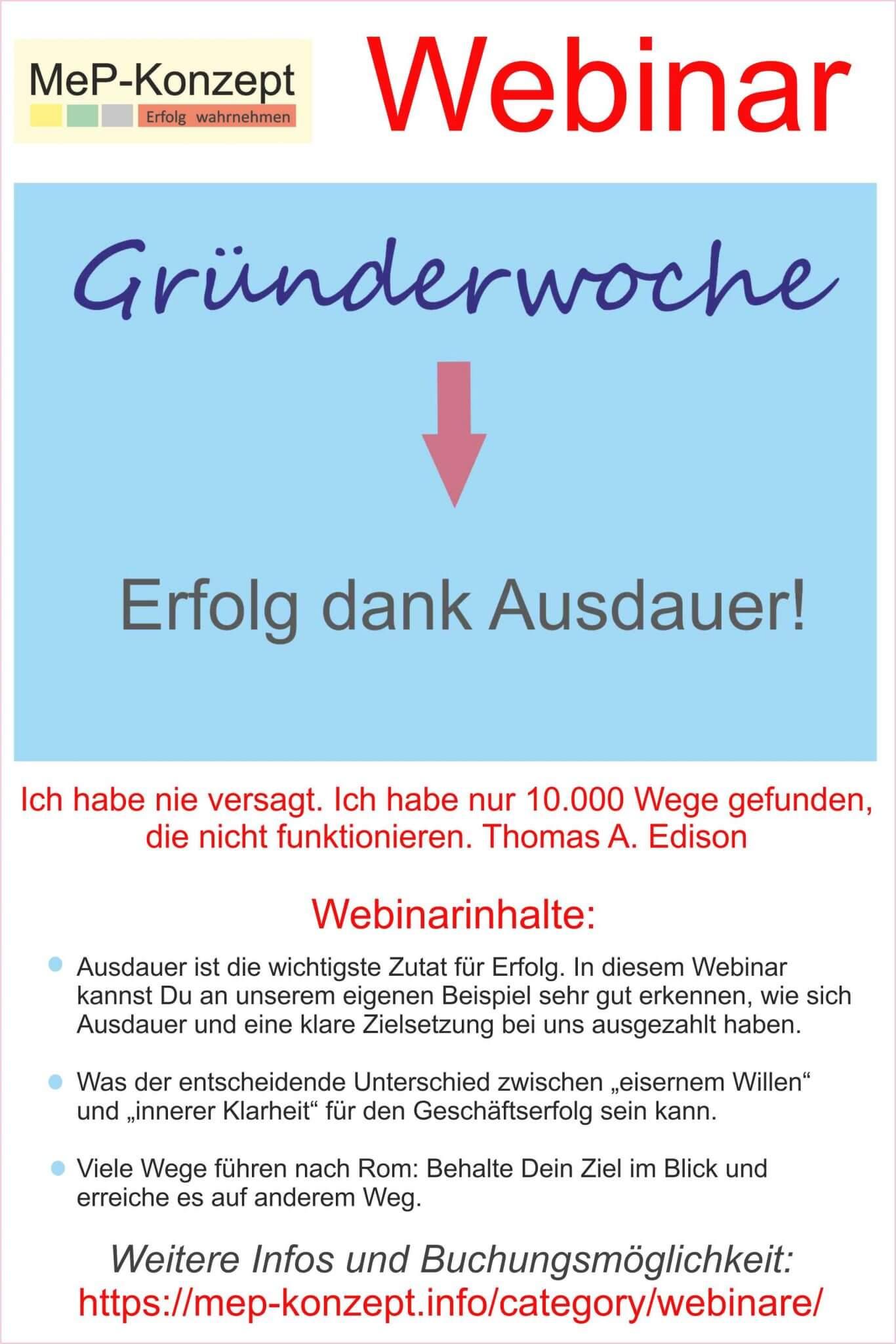 Gründerwoche-Webinar: Erfolg Dank Ausdauer