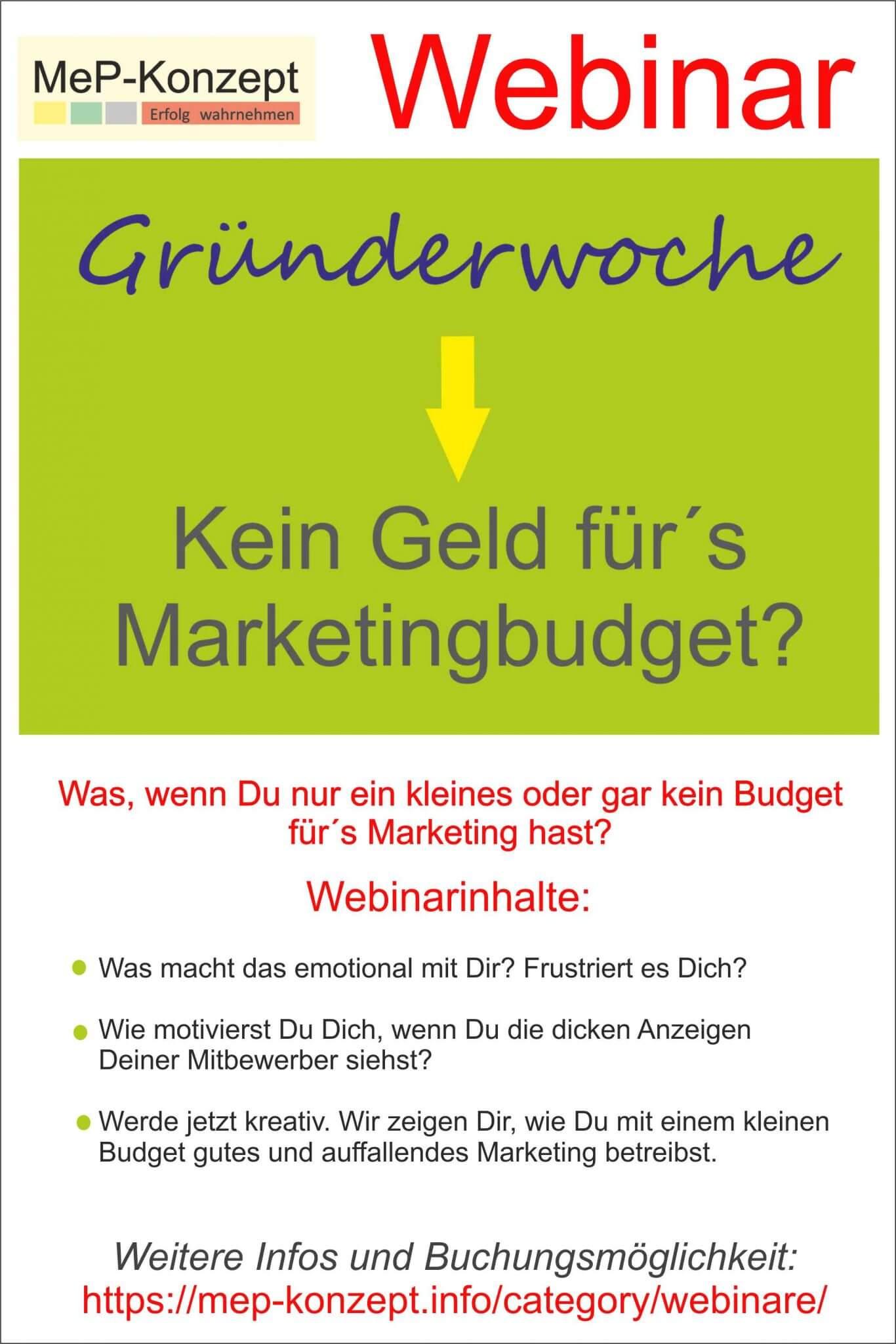 Gründerwoche-Webinar: Marketing mit kleinem Budget