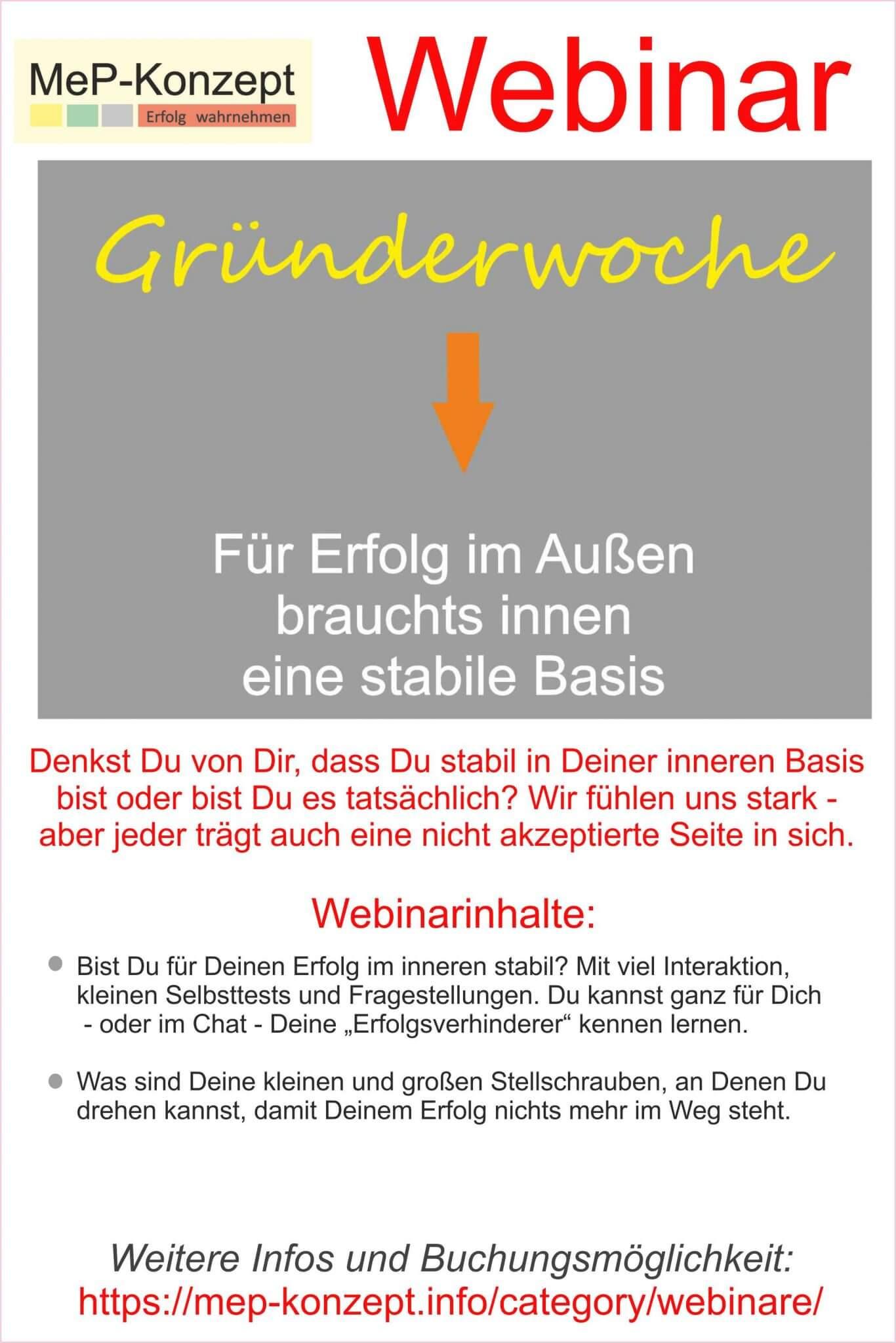 Gründerwoche-Webinar: Innere Stabilität für den Erfolg im Außen